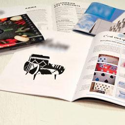 Brochures agrafées, magazines, livrets